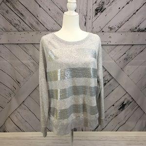 Gray Sequined Casual Sweatshirt